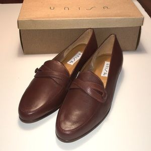 Unisa Brown Leather Loafers NWT